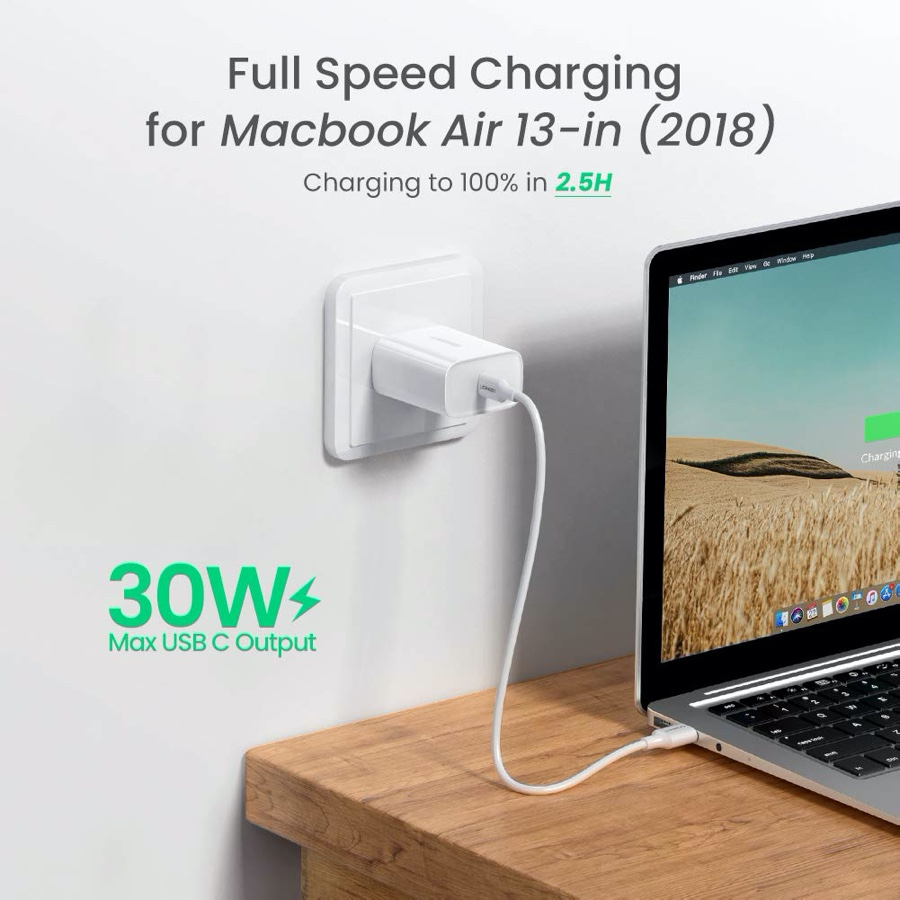 UGREEN's 30W charger pairs perfectly with USB-C to Lightning cable