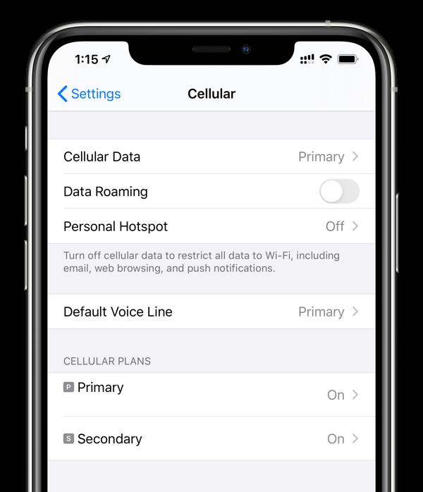 dual SIM settings