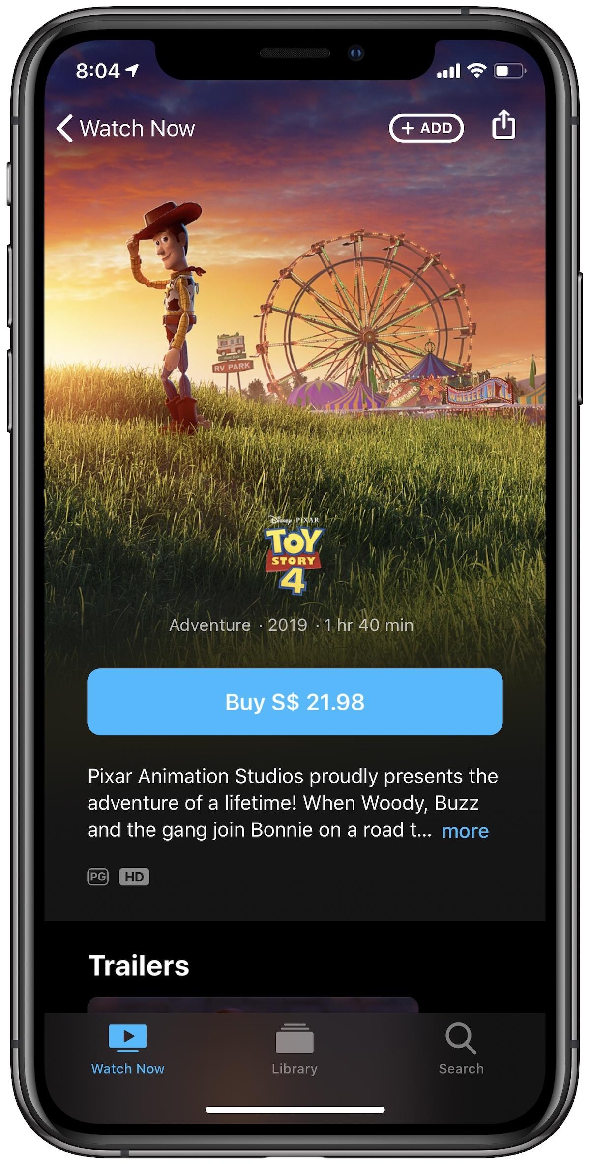 TV app Add button