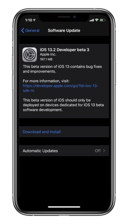 iOS 13.2 beta 3