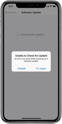 iPhone 11 unable to check for update