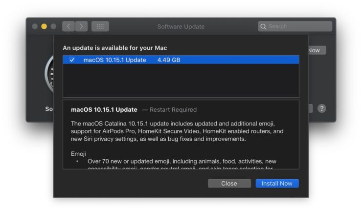 macOS Catalina 10.15.1 update
