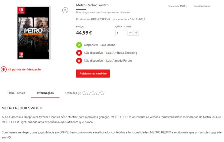 metro redux switch listing