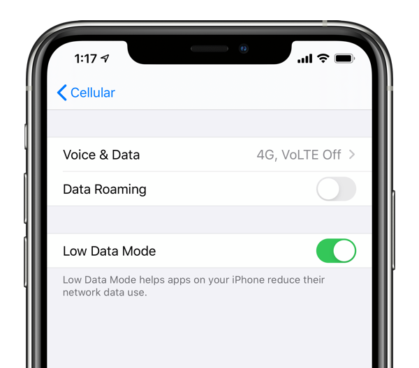 single SIM low data mode