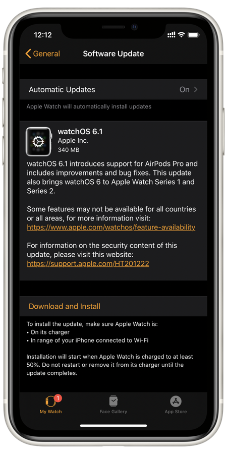 download watchOS 6.1 for Series 1 and Series 2