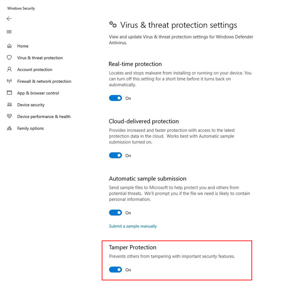 windows 10 tamper protection