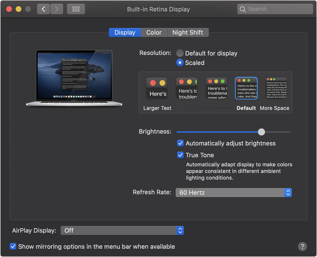 Change refresh rate on MacBook Pro