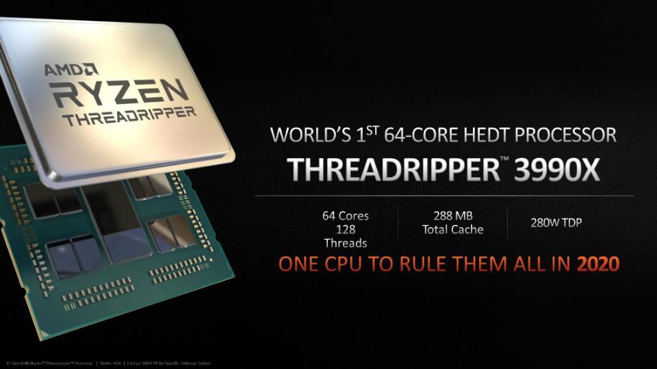 Amd Ryzen Threadripper 3990x 64 Core Cpu Confirmed For 2020