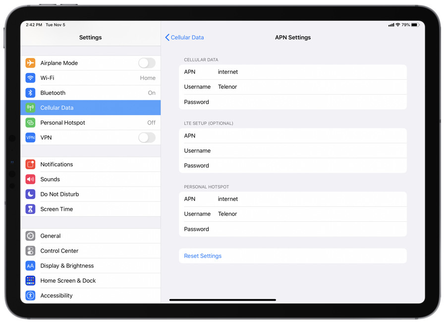 Fix Personal Hotspot issues by checking APN settings on iPad