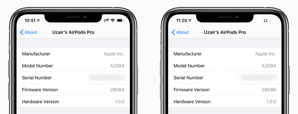New AirPods firmware 2B588 shown in update screenshot