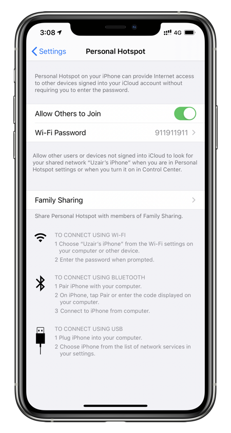 Fix Personal Hotspot issues by turning on toggle switch from Settings