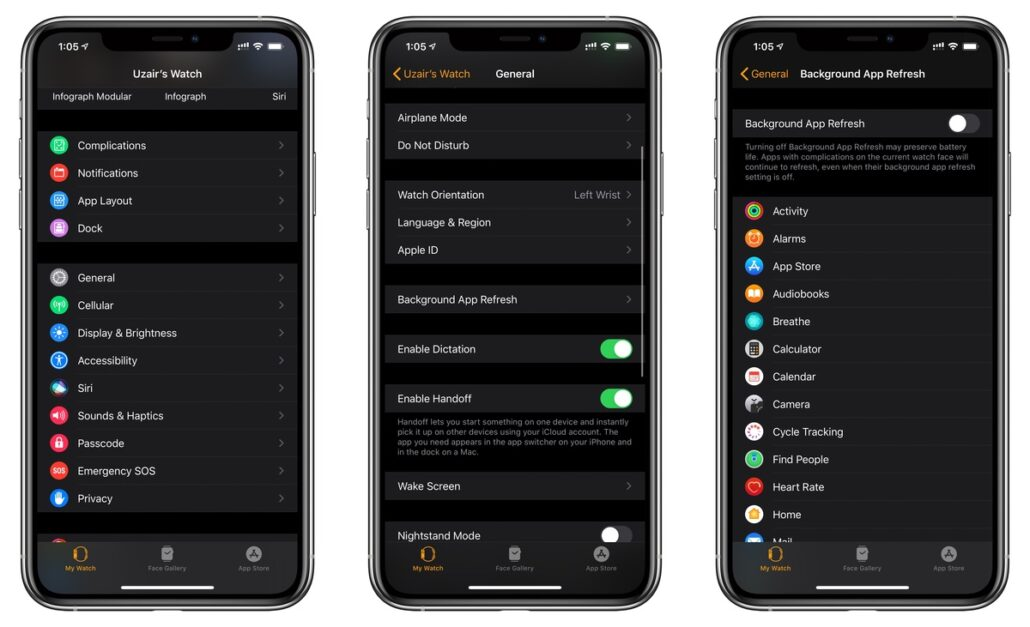 Disable Background App Refresh on Apple Watch using iPhone