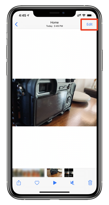 Tap on the Edit button in Photos app to get to filters
