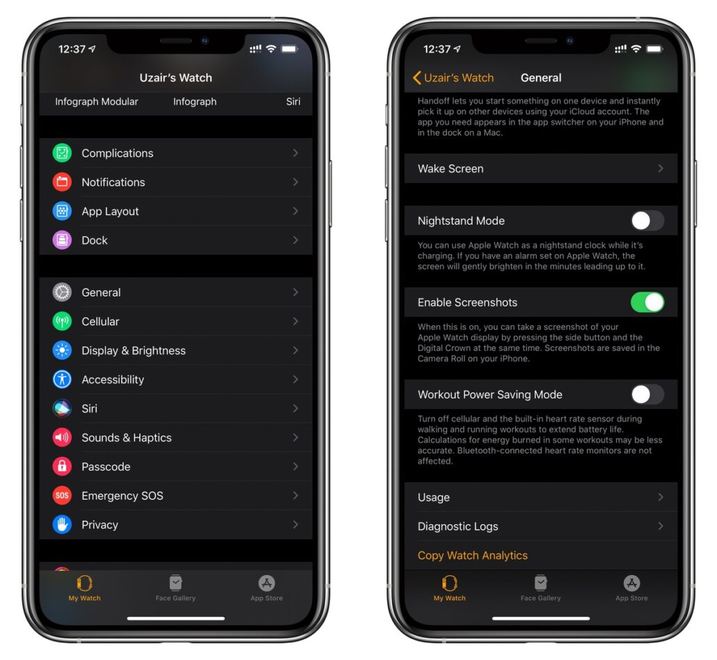 Enable Screenshots option in Watch app first