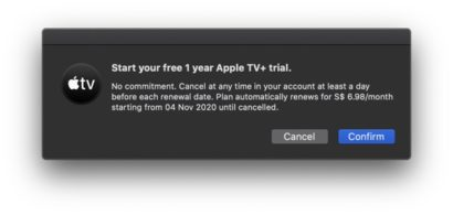 Free 1 year Apple TV+ trial