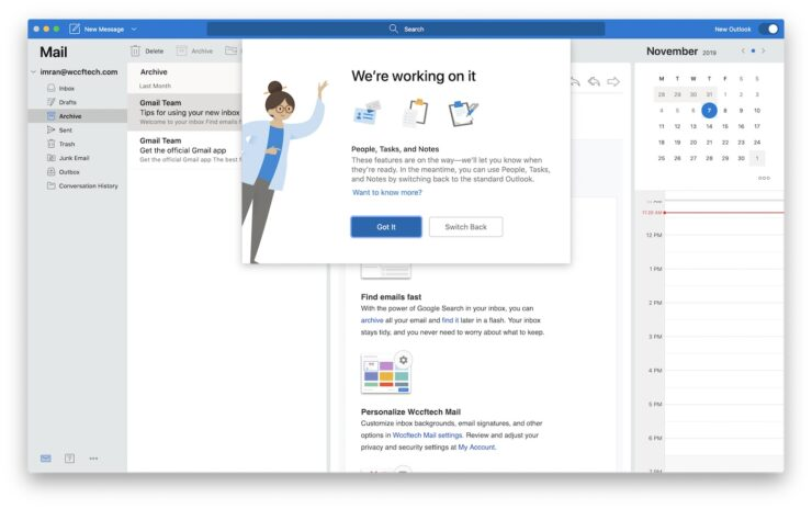 Outlook for Mac work in progress