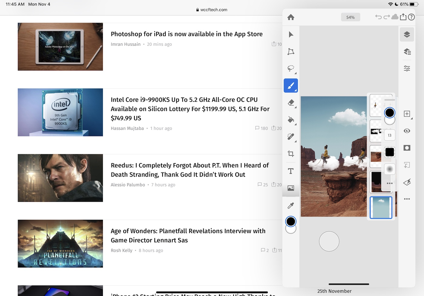 Photoshop for iPad Slideover