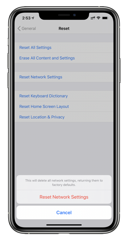 Fix Personal Hotspot issues by performing a networks settings reset