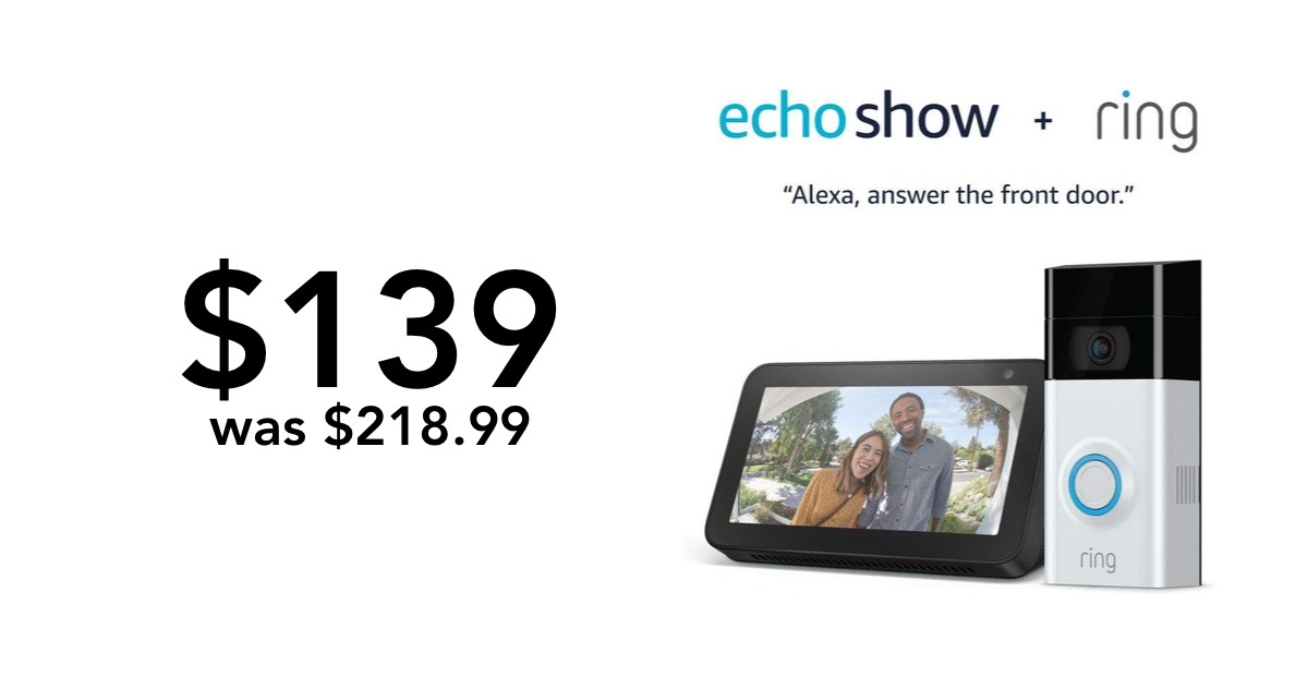 Singles Day Deal Ring Video Doorbell 2 Echo Show 5 Combo For 139 You Save 79 99