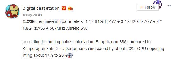 Snapdragon 865 Specs Leak Reveal 20% Gain Over Snapdragon 855