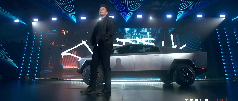 Tesla Cybertruck with Elon Musk