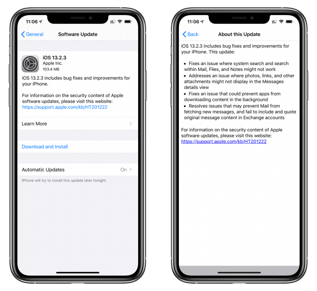 iOS 13.2.3 changeling