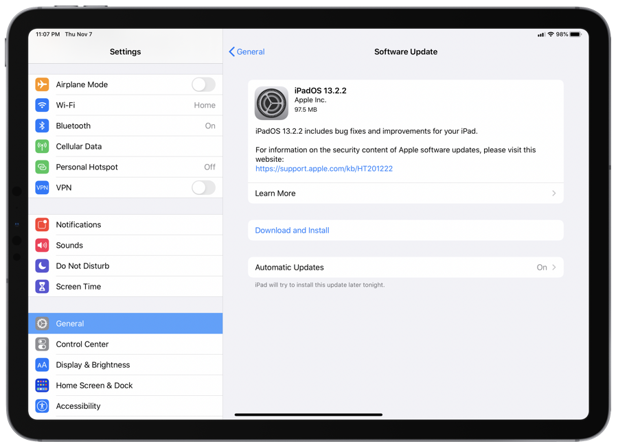 download iPadOS 13.2.2 for iPad
