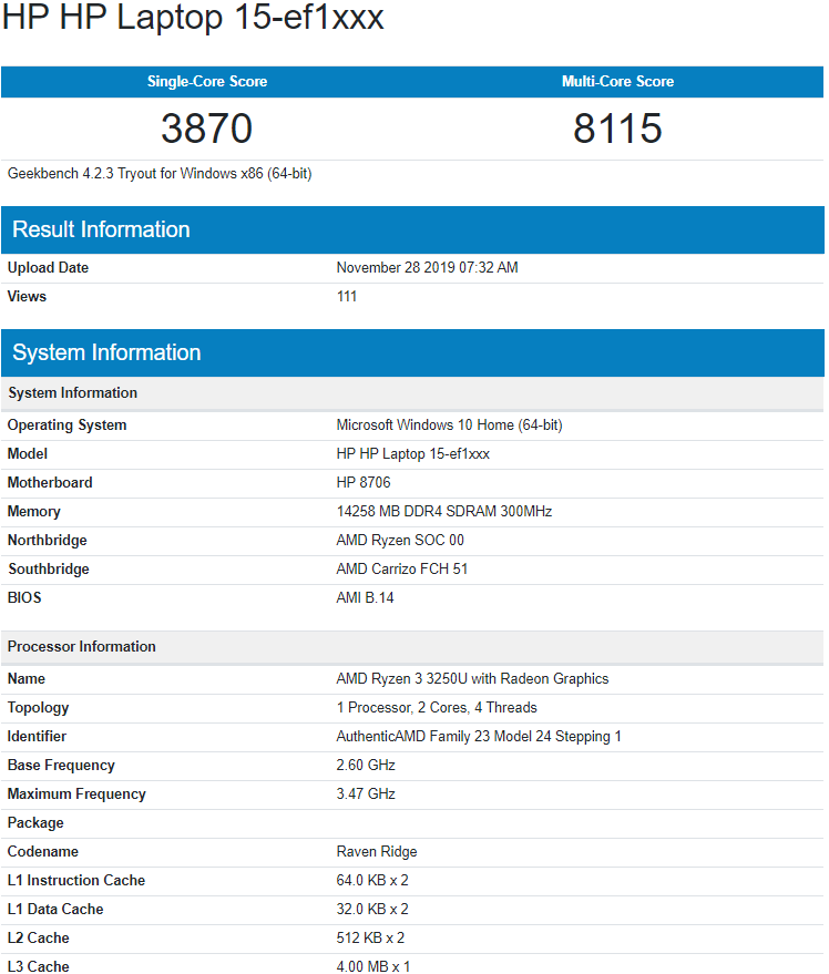 پردازنده موبایل AMD Ryzen 3 3250U مشاهده شد