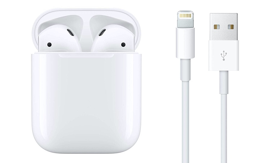 AirPods 2 true wireless earphones with Lightning cable
