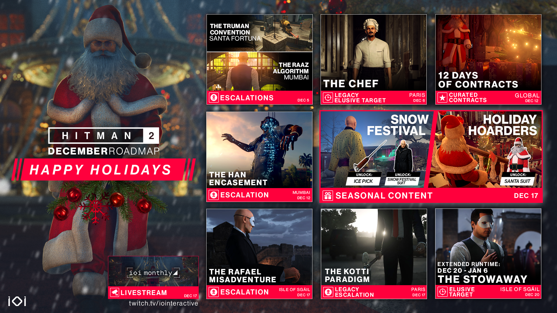 Santa Starts Slaughtering In The Free Hitman 2 December Roadmap