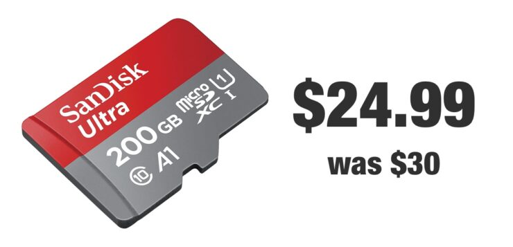 SanDisk 200GB microSD discounted to $24.99