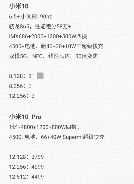 Xiaomi Mi 10 Pro hardware specs leak