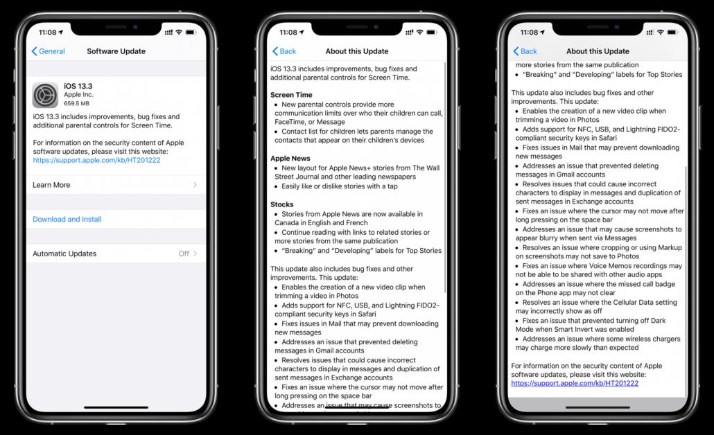 iOS 13.3 changelog