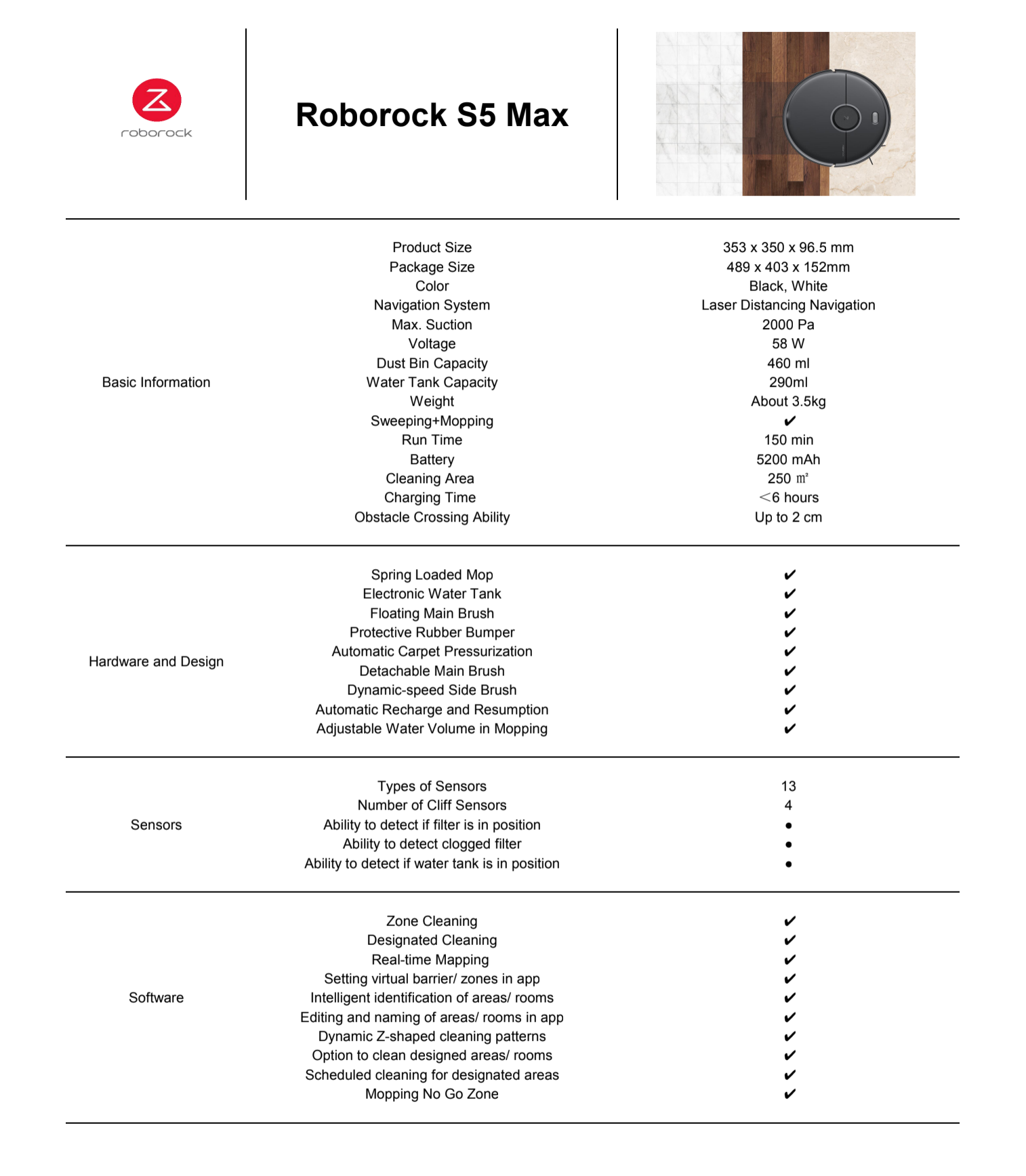 roborock s5 max specs