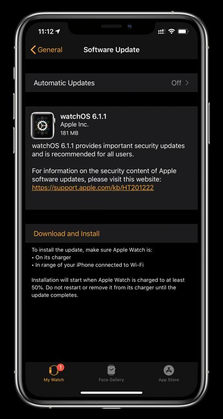 watchOS 6.1.1 changelog