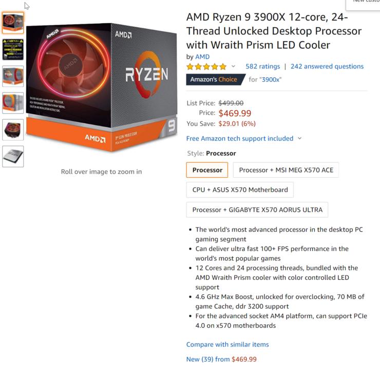 Amd Ryzen 9 3900x Cpu On Sale For 469 Ryzen 5 3600 For 179