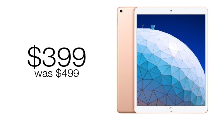 Gold iPad Air discounted to $399, $100 off