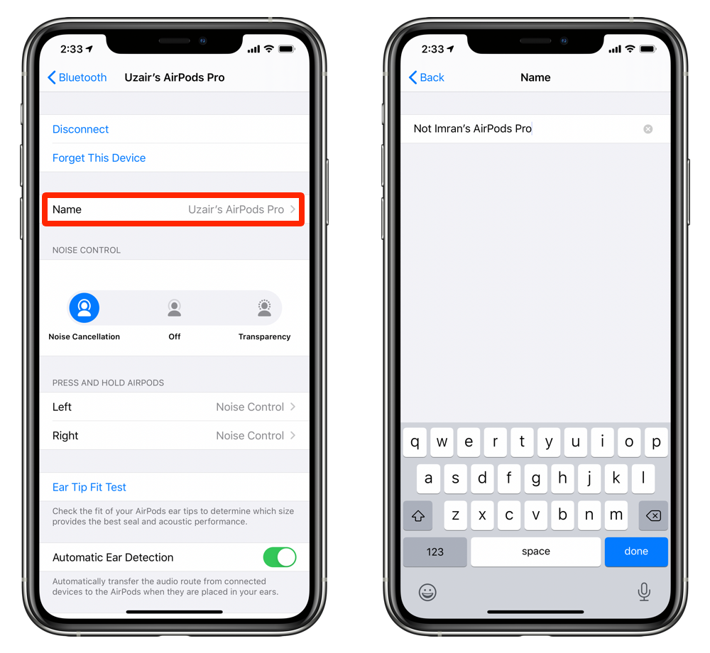 Rename AirPods / AirPods Pro and save your changes
