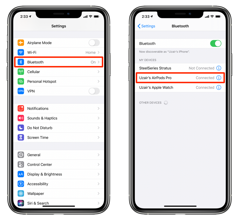 Rename AirPods by going to Settings then tap on Bluetooth