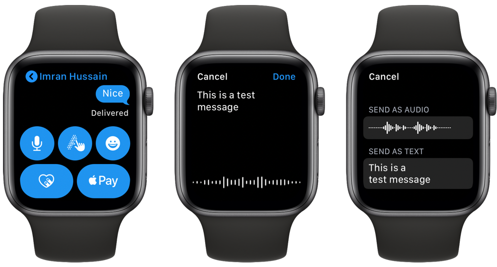 send voice message from Apple Watch