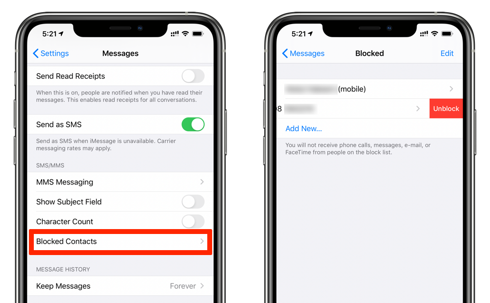 unblock phone numbers in iOS 13