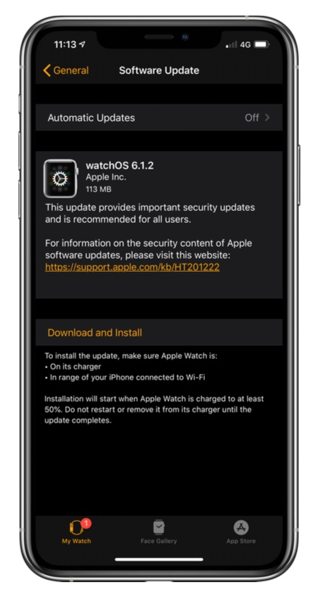 watchOS 6.1.2 changelog