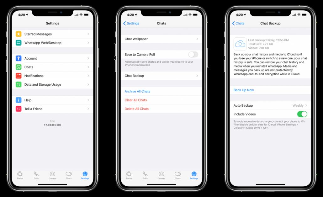 Backup WhatsApp chats from Settings