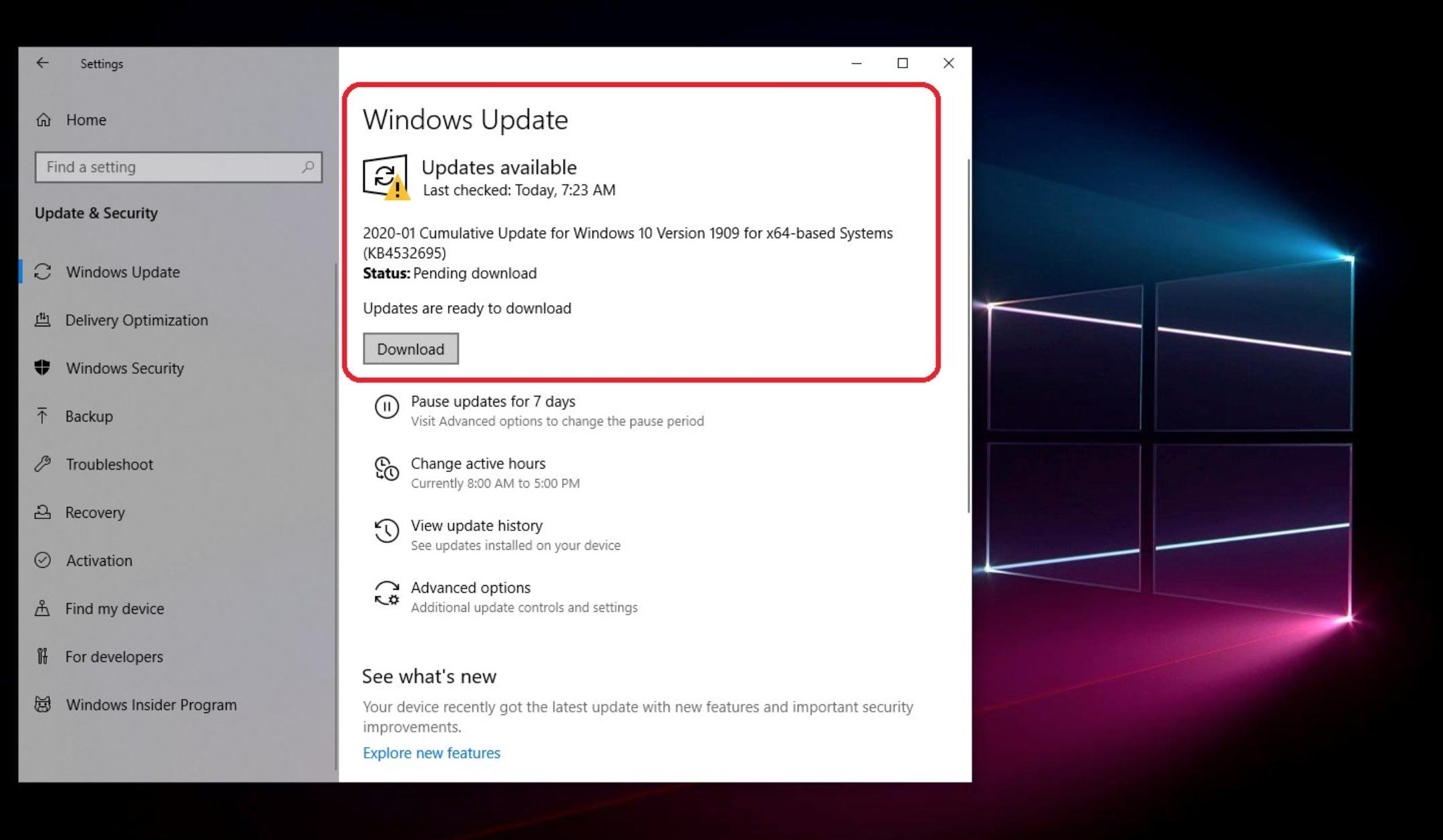 windows 10 november 2019 update ダウンロード