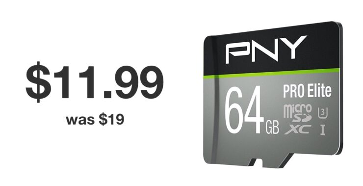 PNY 64GB microSD card discounted to $11.99