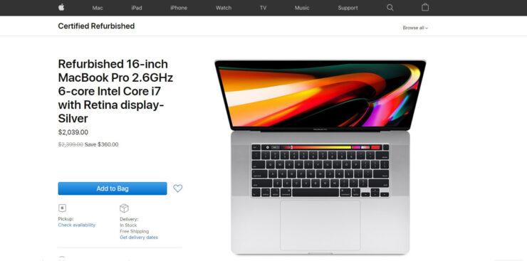 Refurbished 16-inch MacBook Pro Models Are Now Available on Apple's Online Store