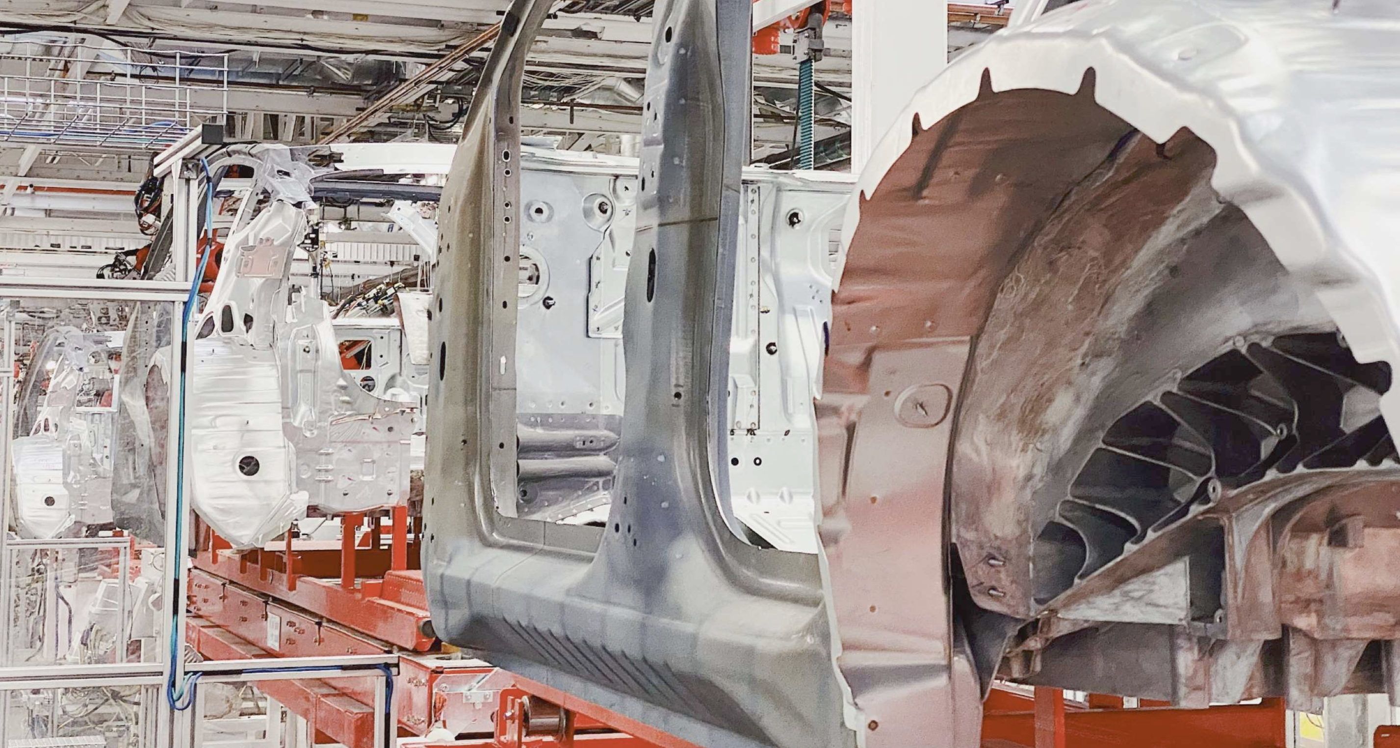 Tesla Model Y body shop image to show vehicle building process