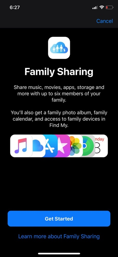 Share iCloud storage using Family Sharing
