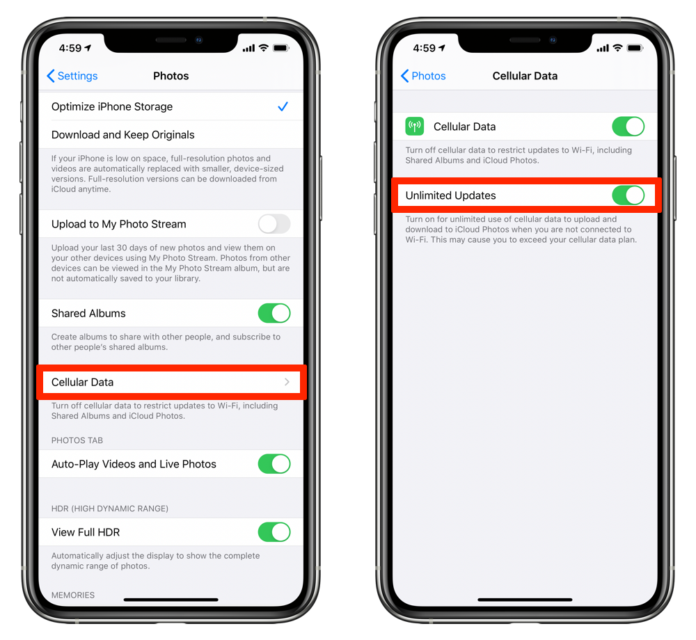 Enable Unlimited Updates for iCloud Photo Library