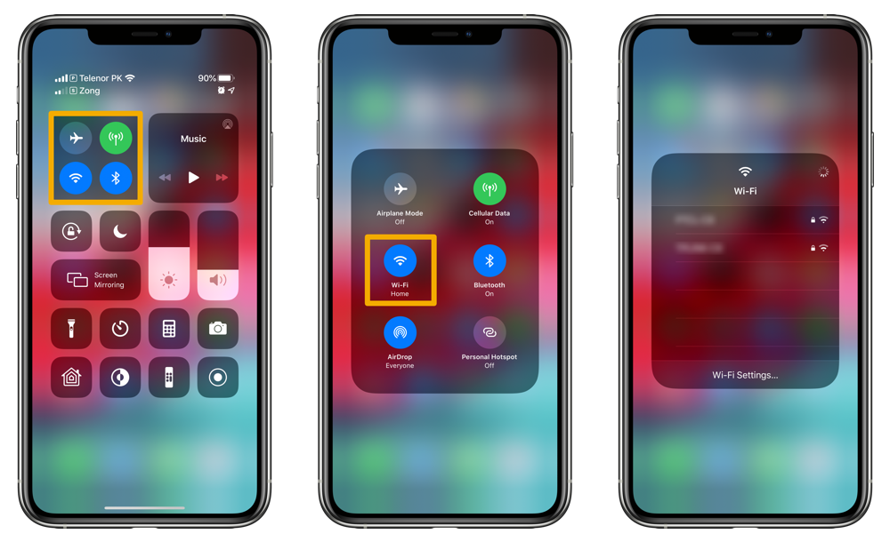 switch Wi-Fi networks from Control Center